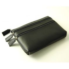 Pebble Grained Leather Triple Zip Cosmetic Case
