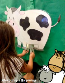 "Miss Bunny's Hoppenings: Love this during a farm unit. The kiddos practice ""milking"" a cow! How fun would this be?!"