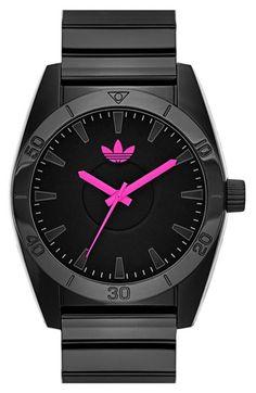 Adidas Originals 'Santiago' Neon Accent Watch with a neon pink dial.