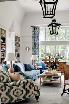 Blue and white casual rooms.
