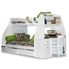 "Mariner Bunkbed. Available in twin over full, with a desk. Choose from 5 different finishes, along with knob options. Dimensions: 117""L x 56""D x 69""H. Price: $3,599.00 #kidsfurniture #spacesaver #unique"
