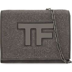 TOM FORD Icon microstud suede clutch (41 640 UAH) ❤ liked on Polyvore featuring bags, handbags, clutches, graphite, tom ford, tom ford handbags, flap purse, chain strap purse and chain handle handbags