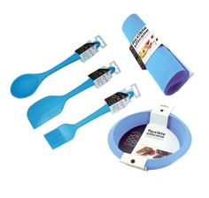 Set of 5 Blue Silicone Utensils/Tools & Bakeware. Spoon, Spatula, Pastry Brush, Work Mat, Deep Round Cake Mould - This Set offers great savings if you were contemplating buying these seperately. The RRP of £38.15 is reduced down to £35.65 with this set!  Silicone offers many different advantages including – Dishwasher Safe, Hygenic and Flexible, Easy to Store, Stain Resistant  - http://irishcakesupplies.com/wp-content/uploads/2014/01/41nMddVWtjL.jpg - #5, #Blue, #Of,