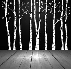 Birch Aspen Trees Birds Forest Wall Art Stickers Removable Vinyl Decals Transfer…