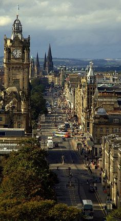 The Princes Street in Edinburgh, Scotland (by. The Princes Street in Edinburgh, Scotland Places Around The World, Oh The Places You'll Go, Places To Travel, Places To Visit, Around The Worlds, Travel Destinations, Wonderful Places, Beautiful Places, Amazing Places
