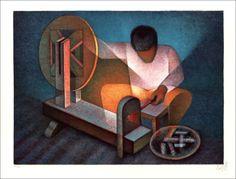 """TOFFOLI Louis - Lithographie Originale """"Le Fileur"""" 50x65cm - 1986"""