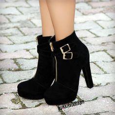 Peliska Süet Siyah Kalın Topuklu Bootie #black #shoes #boots