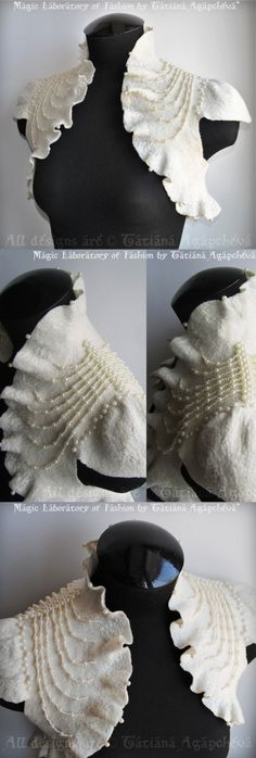 Bolero Shrug  Pearls Ivory White Wedding /THE RIDDLE/ Couture Felted, Merino Silk, Pearls Embellished, short sleeves US 6 Must Have. $270.00, via Etsy.