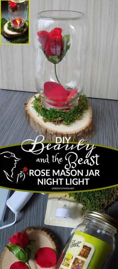 DIY Beauty and The Beast Rose Mason Jar Night Light Kids Craft Tutorial My daughter and I can't wait for the March release of Disney's Beauty and the Beast! We are big fans Emma Watson from her Harry Potter days, and we are so excited to see her take up t