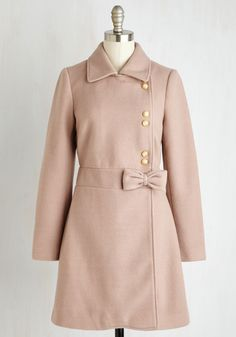 Amiable Invitee Coat. When your colleague invited you to tea, she had no idea youd arriving looking as lovely as you do in this dusty rose coat! #pink #modcloth