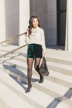 Topshop Green Velvet Shorts