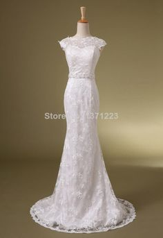 2014 New Sweetheart Beaded Sashes A Line Sexy Lace Bridal Wedding Dresses Gowns $148.00