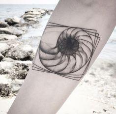 X-Ray Seashell Tattoo by Balazs Bercsenyi