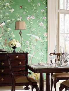 Cool greens, trimmed with white moldings & dark wood.