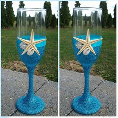 beach wedding flute sea shell blue turquoise by Exquisitefindsbycj