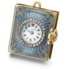 Swiss A YELLOW GOLD AND ENAMEL BOOK-FORM KEYLESS PENDANT WATCH CIRCA 1880 ||| sotheby's hk0356lot64y46en