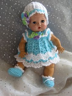 "Beautiful DRESS, HAT & SHOE Set-""Ocean""-for 12-13 1/2"" Tiny Tears-Hand Crocheted Crochet Doll Dress, Crochet Barbie Clothes, Baby Doll Clothes, Knitted Dolls, Baby Dolls, Crochet Elephant Pattern, Crochet Doll Pattern, Tiny Tears Doll, Preemie Crochet"