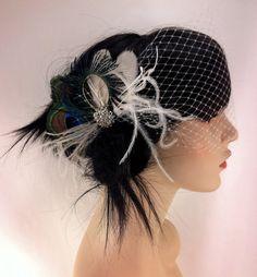 Bridal Feather Fascinator, Bridal Fascinator, Feather Fascinator, Fascinator, Wedding Veil, Bridal Headpiece, Bridal Veil, Peacock