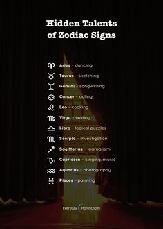Zodiac signs and their hidden talents. People born under each zodiac sign have a different type and degree of psychic abilities. Find out if you are a secret clairvoyant or telepath and learn to put your psychic talent to. Zodiac Signs Sagittarius, Zodiac Sign Traits, Zodiac Star Signs, Astrology Zodiac, My Zodiac Sign, Astrology Compatibility, Horoscope Signs, Zodiac Quotes, Astrology Signs Dates