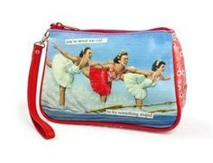 """Anne Taintor Retro Cosmetic Bag Case Fun Gift  YOU'RE NEVER TOO OLD...TO TRY SOMETHING STUPID  by anne taintor. $17.95. A Cosmetic Bag and so much more! A detachable wristlet strap turns this zippered bag into a playful purse. Lush matte vinyl bag is fully lined. 7 1/2""""w x 5""""h x 2 1/2""""d."""