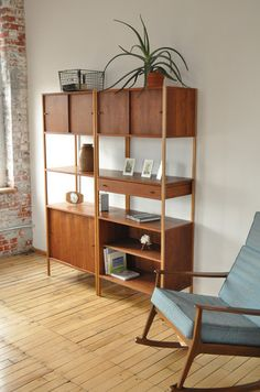 Mid Century Bookcase Room Divider