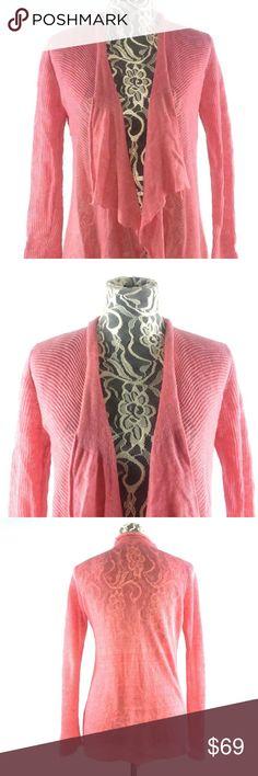 $238 Eileen Fisher Organic Cotton Links Rosa Long Straight Sweater Cardigan M