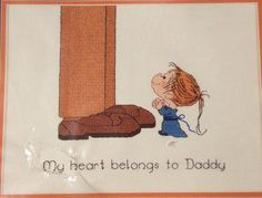 My Heart Belongs To Daddy Cross Stitch Kit Heritage Series Little Girl Child #Heritage