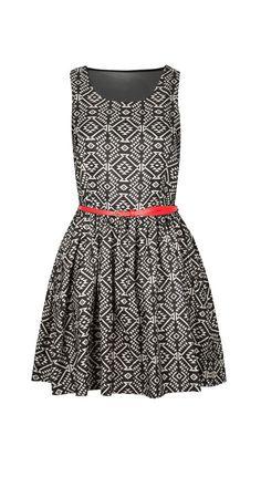 Black & White Geo Belted Sleeveless Dress