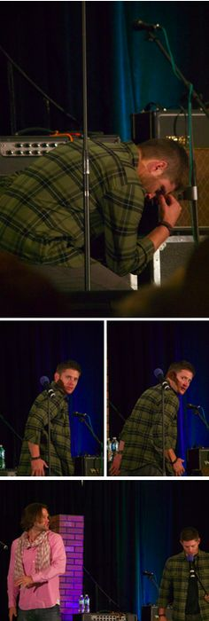 Jensen imitating Tahmoh before shooting. #ChiCon2014