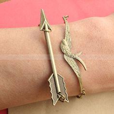 Mockingjay bracelet and Arrow Bracelet by luckyvicky on Etsy