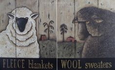 Sheep Art Prints, vintage inspired Black & White Sheep Folk Art Prints, Set of 2, Fleece Blankets, Wool Sweaters by Donna Atkins on Etsy, $14.00