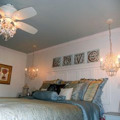 I like the small ceiling fan for a small girls bedroom.....House of Turquoise: