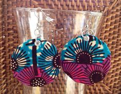 African Earrings African Print earrings African by ThriftyUpenyu, $7.00 #fabricearrings #African #fabric #earrings #jewelry