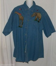 Coosa County Denim Shirt Size XL Blouse Top Blue Elephant Giraffe Short Sleeves free shipping