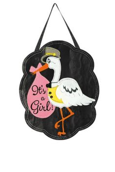 Black door hanger with a stork on the front.  Size: 12.5 x 0.25 x 18  Its A Girl Door Hanger by Walker's. Home & Gifts - Home Decor - Outdoor Alabama