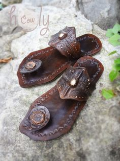Crazy Indian Brown Leather Sandals by HolyCowproducts