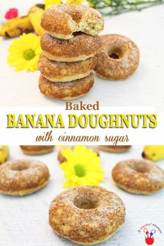 Moist, flavorful banana doughnuts are baked not fried then dusted with cinnamon sugar. Theyre a healthier option for a grab-n-go breakfast or an after school snack. Best Breakfast Recipes, Brunch Recipes, Dessert Recipes, Baking Desserts, Cake Baking, Picnic Recipes, Health Desserts, Cake Recipes, Banana Recipes