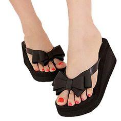 FINEJO Ladies Summer Platform Flip Flops Thong Wedge Beach Sandals Knotbow Shoes