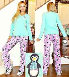 PJ COUTURE Fleece Pajama Set with Penguins Print and embroidery<M,L,XL
