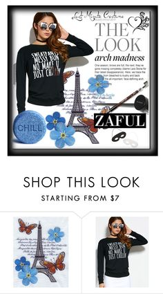 """""""Zaful 20#Pullover Text Print Sweatshirt"""" by bamra ❤ liked on Polyvore"""