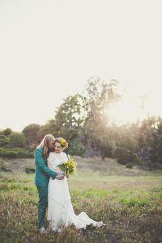 Boho bride and dress outside  Wedding Photo by Sarah Kathleen