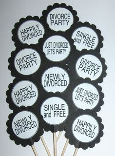 Divorce Party Cupcake Toppers/Party Picks by CupcakeToppersGalore Free Divorce, Divorce Online, Freedom Party, Divorce Party, Divorce Papers, Broken Marriage, Unhappy Marriage, Fitness Gifts, Cupcake Party