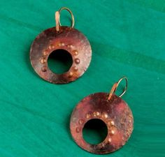 Terracotta Sunset earrings by Denise Peck Improve your metal jewelry making with these eight helpful tips on stamping, patina, and more from expert wire and metal jewelry artist Denise Peck. - from Easy Metal Jewelry Making: 8 Tips for Making Metal Jewelry from Denise Peck, Plus a Free Micro Torch! - Jewelry Making Daily
