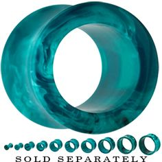 00 Gauge Acrylic Teal Blue Marble Double Flare Tunnel | Body Candy Body Jewelry