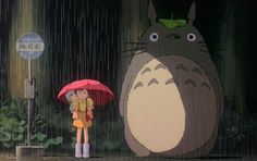 My Neighbor Totoro - The rain scene ...Heehee!!! I love Studio Ghibli films!! Hayao Miyazaki is the greatest!!!! :)