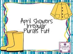 Have fun practicing irregular plurals with this memory matching game and worksheet with a rainy day theme! This resource is perfect for your elementary speech students, and it makes for a fun way to learn during a rainy springtime day! *************************************************************************** What awesome resources are included? ★ Memory matching game ★ Worksheet *************************************************************************** What are other...