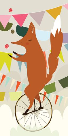 Funny fox by Erin Wallace Circus Illustration, Pattern Illustration, Graphic Design Illustration, Graphic Art, Monocycle, Fabulous Fox, Fox Art, Art Graphique, Cute Characters