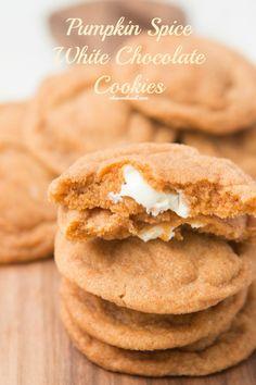 White Chocolate Stuffed Pumpkin Spice Pudding Cookies! ohsweetbasil.com