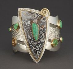 Sterling silver cuff bracelet with 18 Karat, Crazy Lace agate and Carico Lake turquoise by Victoria Adams (Cheyenne)