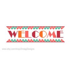 Instant Download Cross Stitch Pattern Welcome by ZindagiDesigns, $3.00